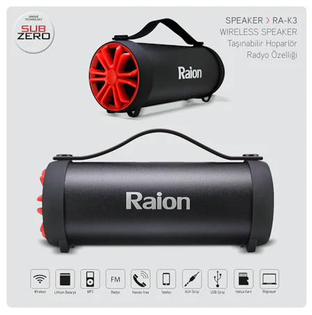 RAİRON RA-K3 WIRELESS SPEAKER,BT
